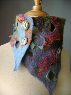 MAP Hand felted asymmetrical Avant-garde art scarf / neckwarmer / chocker / necklace wool silk OOAK fiber art | by VitalTemptation , Etsy