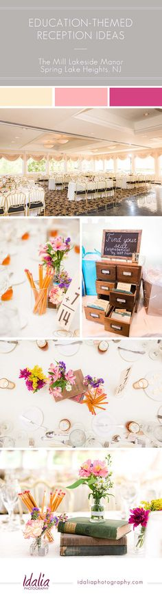 Education-themed wedding reception ideas | The Mill Lakeside Manor Wedding in Spring Lake Heights, NJ