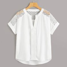 Shein Hollow Out Crochet Dip Hem Blouse Blouse Neck Designs, Blouse Styles, Fashion News, Fashion Outfits, Professional Attire, Blouse Outfit, Blouse Online, Summer Shirts, Sleeve Styles