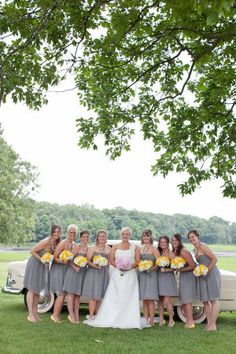 There is just something about pretty maids all lined up in a row wearing grey and yellow - it's a palette that makes my heart pitter-patter. It's even more darling when those lovely ladies are rocking yellow shoes. Swoon. Add a