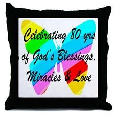 BLESSED 80 YR OLD Throw Pillow Make turning 80 years old memorable with our treasured Christian 80th birthday gifts. http://www.cafepress.com/jlporiginals/7198526 #80thbirthday #80yearsold #Happy80thbirthday #80thbirthdaygift #80thbirthdayidea #80yroldChristian  #happy80th #Blessed80th