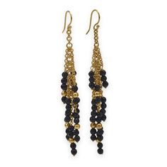 14 Karat Gold Plated Brass Earrings with Black Onyx