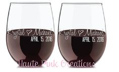 Engagement Gift, Etched Wine Glass, Personalized Engagement Gift, Newly Engaged Gift, Wedding Wine Glasses,  Mr and Mrs Wine,  Set of 2