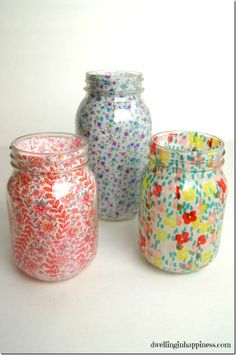 Spring Fabric Mason Jars