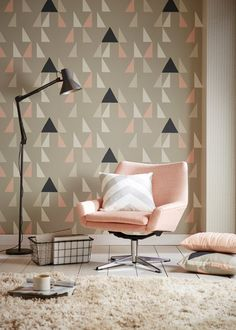 Shop for Wallpaper at Style Library: Modul by Scion. This graphic geometric wallpaper design features unevenly spaced triangles printed in bold colourw. Geometric Wallpaper Design, Graphic Wallpaper, Geometric Wall Art, Modern Wallpaper, Designer Wallpaper, Print Wallpaper, Wallpaper Ideas, Wallpaper Designs, Fabric Wallpaper