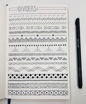 Trying out some cool page ideas -My dividers! Trying out some cool page ideas - Tim Holtz Cling Stamp Set - Ornate Trims My dividers! Trying out some cool page ideas My dividers! Trying out some cool page ideas Bullet Journal collection Bullet Journal Dividers, Bullet Journal Headers, Bullet Journal Banner, Bullet Journal Notebook, Bullet Journal Layout, Bullet Journal Ideas Pages, Bullet Journal Inspiration, Journal Fonts, Bullet Journal