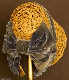 Summer spoon bonnet, Woven straw lace trimmed w/steel blue velvet ribbon. Victorian Hats, Victorian Fashion, Vintage Fashion, Historical Costume, Historical Clothing, Antique Clothing, Bonnet Hat, Love Hat, Period Costumes