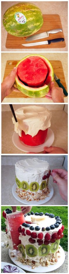 A watermelon cake to keep parties light and healthy. Not only is is fun, it would be cheap and fairly easy!