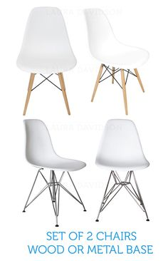 Set Of 2 Mid Century Modern Eames Replica Dining Dsw Dsr Side Chairs