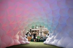 fabric prism installation by pneuhaus uses an inflatable membrane which responds…