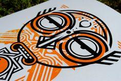Screen Printed Tribal Mask Poster Native Silk by TheKeyPrintHouse