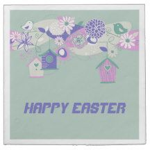 Mint Green Birds and Bird Houses Easter Napkins