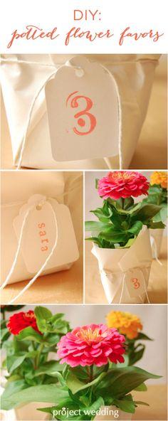 DIY: Potted Flower Favors / Escort Cards