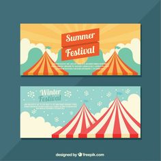 Flat banners with seasonal festivals Free Vector