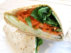 Hummus, green apple, carrot, and spinach wrap... Interesting combo, but sounds delish!