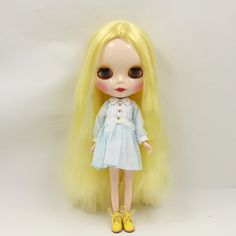Blythe Nude Doll from Factory golden hair Matte Face Azone Body free shipping
