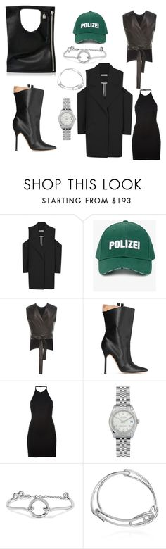 """polizei"" by esposito-alicya on Polyvore featuring Vetements, Rosetta Getty, Manolo Blahnik, Balmain, Rolex, Eddie Borgo and Alix"