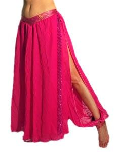 Belly Dance Skirt with Harem Pants - DARK PINK