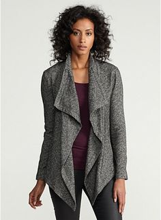 Tried this on @ Macy's in Fashion Island.  Looks sharp; feels soft.  Eileen Fisher Cascading Front Jacket in Distorted Cotton Herringbone.  $318.