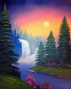 Hazy Spring Day-w Darryl crow, Canvas Painting Tutorials, Easy Canvas Painting, Diy Canvas Art, Simple Acrylic Paintings, Nature Paintings, Beautiful Paintings, Landscape Paintings, Waterfall Paintings, Bob Ross Paintings