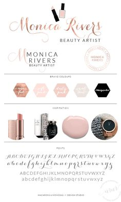 Lipstick Nail Polish Makeup Artist Logo Set by MacaronsandMimosas