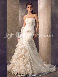 A-line Princess Strapless Court Train Organza Wedding Dress - USD $ 247.99