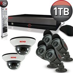$529 only! Revo America 8 Channel 1TB DVR Security System [4 Bullets, 2 Domes, Day Night Vision, IR LEDs]