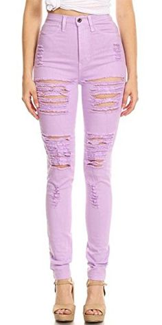BeingStyle | Monotiques Womens High Waist Distressed Skinny Jeans | #whatwomenwear #lavender #jeans