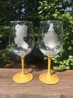 Belle etched wine glass inspired by Disney's by GirlMeetsGinger