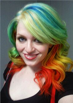 hair, hair color, rainbow, multi-colored hair