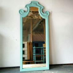 Vintage wood miroir turquoise / miroir en bois rehaussé chalk paint. Création mixxy design
