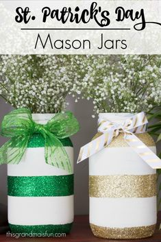 Green from a shamrock and gold from the treasure at the end of the rainbow, these St. Patrick's Day Mason Jars will add a little sparkle to your day. Make these in different colors for different holidays. Super easy but oh so pretty!