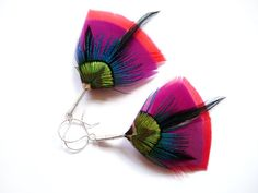 Art Deco Feather Earrings by Stilltreejewellery on #Etsy