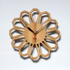 Bamboo Unique Wall Clock   70s Floral by HOMELOO on Etsy, $39.99