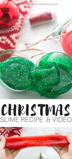 Learn how to make Christmas slime recipe with a video too! Easy tinsel glitter Christmas slime you can add to refillable plastic ornaments for a real treat the kids will love! Use and of our classic homemade slime recipes including saline slime, liquid starch slime, or borax slime recipes to make a delightful and festive Christmas themed slime in minutes. #slime #slimerecipe #glitterslime #christmasslime #homemadeslime