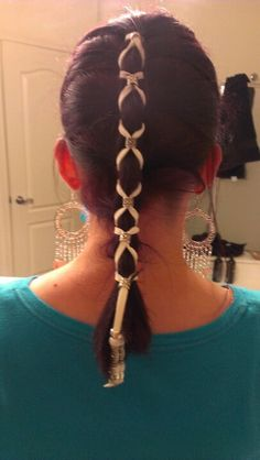 Leather Hair Braid. Easy to do and it stays in place all day! Got mine at the Renaissance Festival