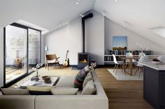 Thousands of curated home design inspiration images by interior design professionals, architects and decorators. Inspiration for every room in the home! Modern Apartment Design, Urban Apartment, Attic Apartment, Apartment Interior, Retro Apartment, Modern Design, Apartment View, Stockholm Apartment, Modern Apartments