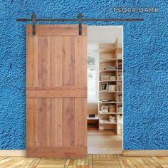 Calhome 36 in. x 84 in. Vertical Slat 2-Panel Primed Natural Wood Sliding Barn Door with Sliding Door Hardware Kit TSQ04-Dark