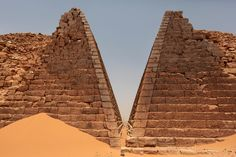 View of the historic Meroe pyramids in al-Bagrawiya, 200 kilometers (125 miles) north of Khartoum, Sudan. The site once served as the principle residence of the rulers of the Kush kingdom, known as the Black Pharaohs. Their pyramids, ranging from 6-meters (20-feet) to 30-meters (100-feet) tall, are some 4,600 years old.