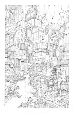 Construct II Art Print by Lucas de Alcantara - X-Small Perspective Drawing Lessons, Perspective Art, Art Sketches, Art Drawings, Coloring Books, Coloring Pages, Cityscape Drawing, Environment Sketch, Landscape Sketch