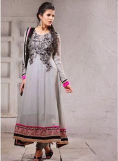 Scintillating Gray #Salwar_Kameez Comes With A Matching Dupatta