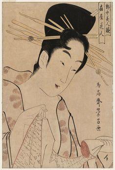 Chokosai Eisho  Title:Hanabito of the Ôgiya, from the series Contest of Beauties of the Pleasure Quarters (Kakuchû bijin kurabe)  Date:1795-97