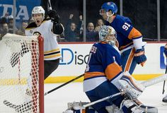 Photo              Boston's Riley Nash, left, after scoring the decisive goal in the third period Saturday night at Barclays Center against goalie Thomas Greiss and the Islanders.                                      Credit             Mary Altaffer/Associated Press                      The...  http://usa.swengen.com/riley-nash-scores-twice-as-bruins-edge-the-islanders/