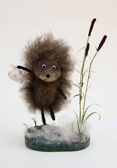 Ежик в тумане Валяная игрушка Интерьерная кукла от Feltingville