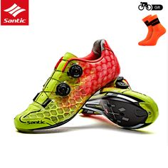 Santic Men Road Cycling Shoes Ultralight Carbon Fiber Auto-locking Athletic Racing Team Bicycle Shoes Cycling Clothings MS17007 #Affiliate