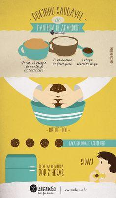 Receita ilustrada de Docinho saudável com três ingredientes, um doce muito fácil e rápido de preparar e pode comer quase sem culpa. Ingredientes: Manteiga de Amendoim, aveia e chocolate em pó.