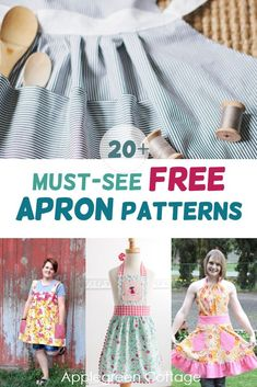 More than 20 free apron patterns here! Learn how to make an apron using these free apron sewing patterns. Easy sewing projects you will love, especially with these easy sewing tutorials and free sewing patterns. A perfect beginner sewing project! Apron Pattern Free, Vintage Apron Pattern, Aprons Vintage, Diy Sewing Projects, Sewing Projects For Beginners, Sewing Tutorials, Sewing Tips, Sewing Hacks, Crafty Projects