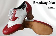Miller & Ben Tap Shoes: Broadway Diva - Red (55) & White (02) - Royal