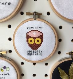 Rum ham! Cross Stitch Hoop Art Escapades of Frank and Fat Mac from It's Always Sunny in Philadelphia