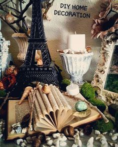DIY HOME DECORATION  www.ivankaslittle... #ivankaslittletreasures #handmade #home #decoration #design #book #Paris #eifeltower #moss #stone #vignette #shabychick #eclectic #candle #imagination #fairytale